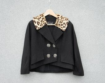 Amazing pinup gal VINTAGE Ransohoffs Fur Collar Knit Jacket