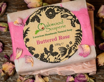 Rose Geranium & Patchouli Handmade Natural soap with essential oil and french pink clay. - Buttered Rose soap
