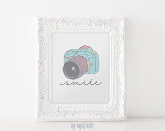 Blue Vintage Camera Printable Art with Quote - Smile Quote - Photographer Gift - Nursery Art - Photography Studio Art - INSTANT DOWNLOAD