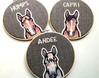 Pferd Portrait - drei individuelle Portraits - benutzerdefinierte Pferd Portrait - benutzerdefinierte Pet Portrait - Pferde-Liebhaber - Geschenk für Tierfreunde