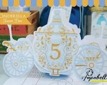 Cinderella Favor Box for Cinderella Birthday Party. Cinderella Carriage Favor Box. DIY Carriage Treat Box PRINTABLES for Cinderella Party