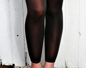 Black High Quality Opaque Nylon Tights Leggings One Size