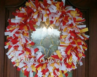 USC, Trojan Football Wreath, Ribbon Wreath, USC Decoration, USC Wreath, Handmade Ribbon Wreath