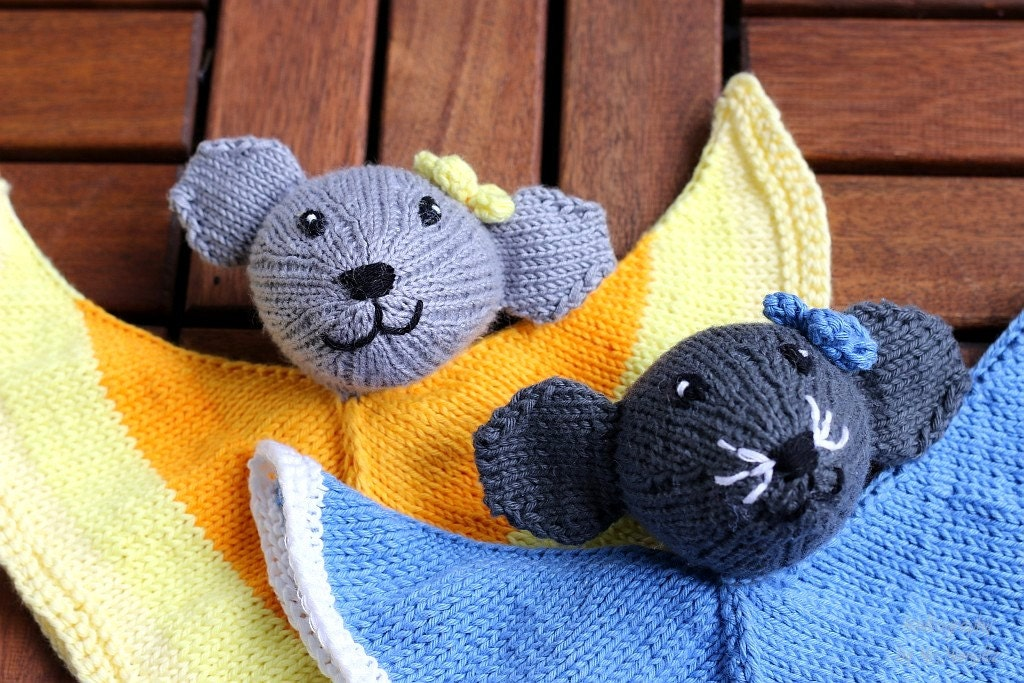 Mouse Lovey knitting pattern PDF baby toy diy gift and