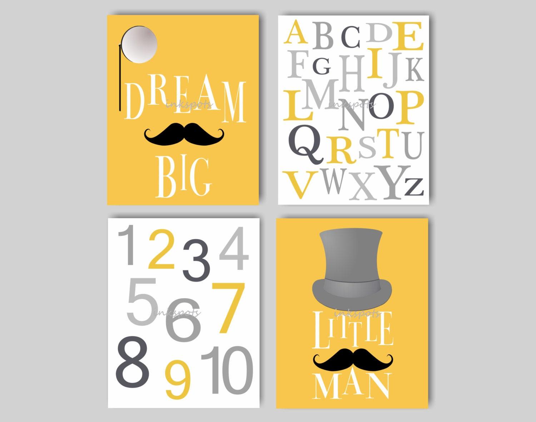 Baby Boy Nursery Art Dream Big Little Man Alphabet Art