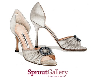 Print of Manolo Blahnik silver high heel sandals