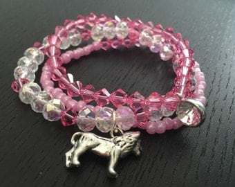 Phi Mu Swarovski crystal beaded bracelet set sorority greek college lion bid day pledge jewelry