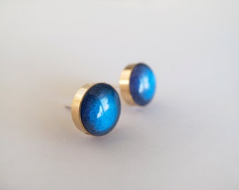 Royal Blue and Gold Round Shimmer Stud Earrings - Hypoallergenic Surgical Steel Posts