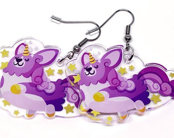 Unicorgi, Cute Corgi Earrings, unicorn, unicorn earrings, pegasus, unicorgi earrings, dog lovers, pembroke welsh corgi, corgis, funny gifts