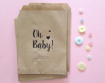 25 Oh Baby! Kraft Paper Bags - Baby Shower Favor Paper Bags