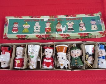 Vintage Commodore Japan 1940-1950's Christmas Figurine Bell Tree Ornament Bells - Set 8