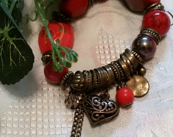 Big Beaded Bracelet Red hot love