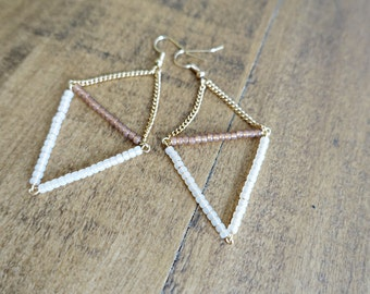 Geometric Triangle Peach Earrings