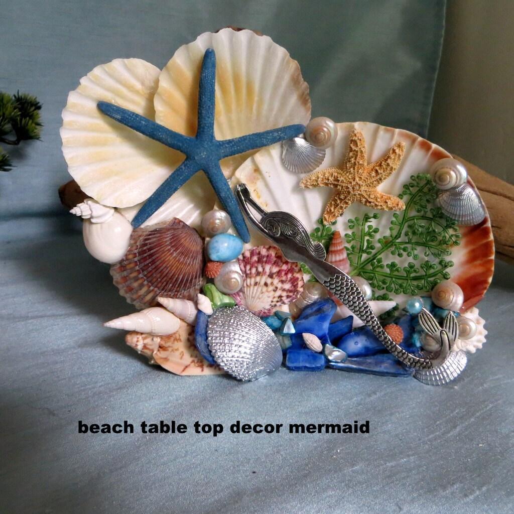 Mermaid seashell table top decor beach by carmelascoastalcraft for Best beach decor
