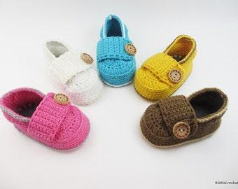Baby booties crochet loafers light, Crochet Baby Shoes, Crochet Baby Booties, Baby Shower Gift, for baby 0-3 , 3-6   months BB301
