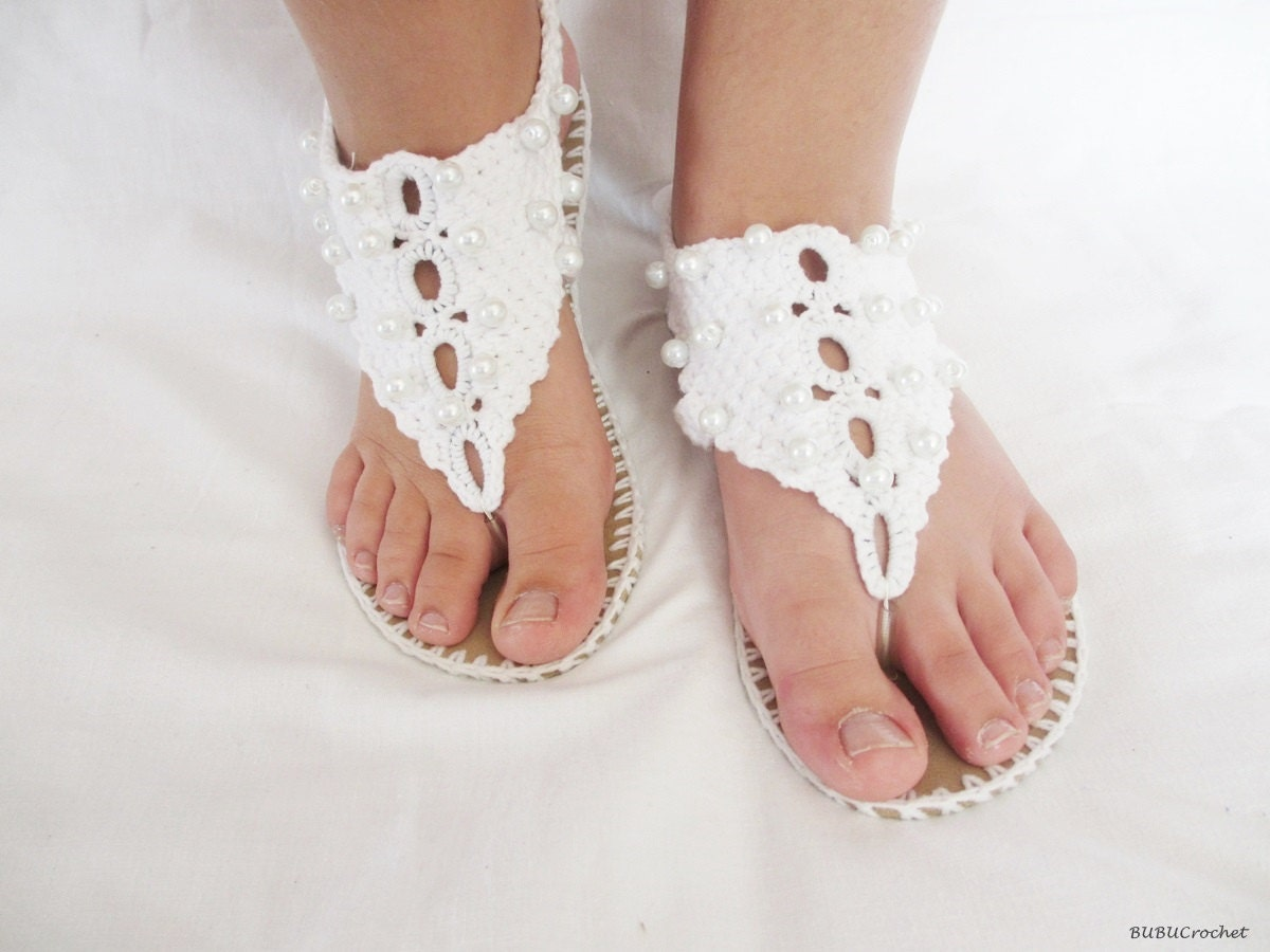 Wedding crochet sandals White sandals decorated with white