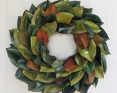 Everlasting Green Magnolia Leaf Wreath-Year Round Wreath, Fall Wreath, Centerpiece, Candle Ring, Front Door Wreath