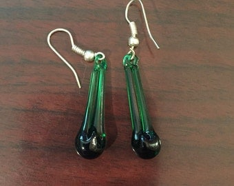 30% DISCOUNT SALE Handmade Dark Green Glass Earrings (#2)