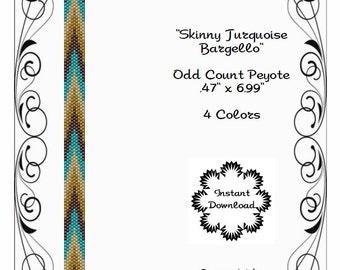 Peyote Bracelet Pattern-Skinny Peyote Cuff-Turquoise Bargello-Miyuki 11/0 Delicas-Boho-Bargello-Skinny Peyote Bracelet