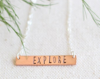 Sterling Silver Explore Necklace, Motivational Sterling Silver Necklace, Hand Stamped Necklace, Stamped Bar Necklace, Copper Bar Necklace