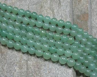 "6 mm Green Aventurine Beads - 15.5"" strand - Item B0423"