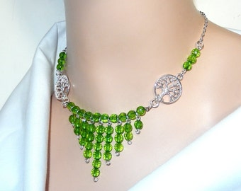 Green necklace, Tree of Life necklace, beaded bib necklace, round faceted beaded necklace, green and silver necklace, womens necklace, gift