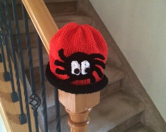 Happy Halloween - Big Spider Hat Knit in Orange and Black