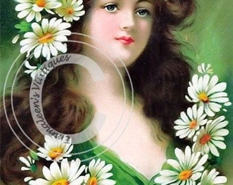 Vintage Shabby Victorian Woman and Daisies Digital Download — Printable Ephemera