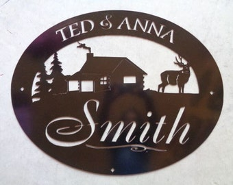 Personalized, metal SIGN with CABIN and DEER