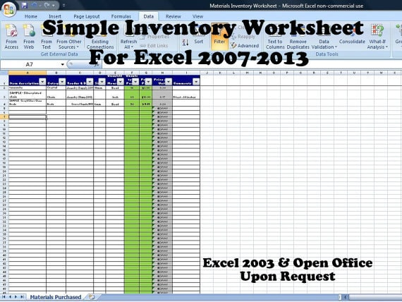 Simple Inventory Worksheet Vendor Price by TimeSavingTemplates – Supply Inventory Template