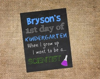 Back to School Chalkboard sign, personalized and printable, 8x10