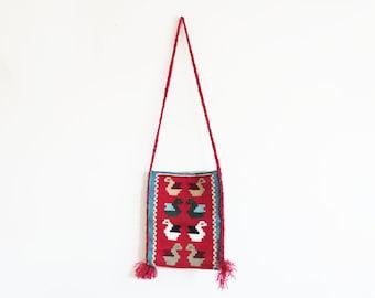 Woven Bohemian Folk Bag // Wool Cross Body Tote Purse // Vintage Women's Accessory