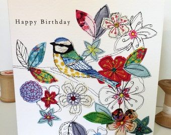 Blue Tit-Greeting Card- handfinished