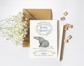 Boy Baby Shower Invitation // Water Color Illustration Shower invitation // Modern Baby Shower Boy // Water Color // Printable Shower Invite