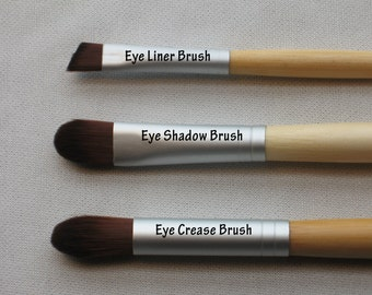 Makeup Brush Ecofriendly Choose from Eye Shadow Concealer Eye Crease Eye Liner or Lip Brush Styles Bamboo Handle Vegan Bristles