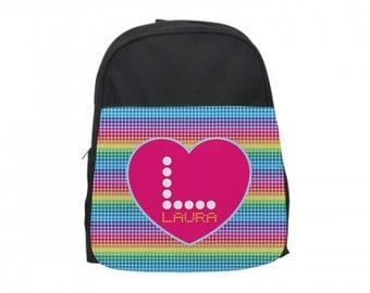 Rainbow Heart Backpack, Custom Heart Book Bag, Personalized Girls Backpack