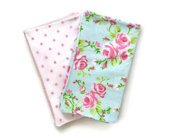 Blue Floral and Light Pink Polka Dot Burp Cloths Set of 2 / Baby Girl Burp Cloth Set / Baby Shower Gift / Burp Cloths / Burp Cloth