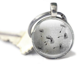 Dandelion Keyring, Key chain, Dandelion Keychain, Gray background, dandelions in the wind, Grey dandelion keyring, dandelion wish