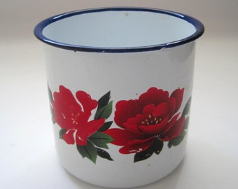 Vintage White Enamel Mug with Red Roses by Goldfish, Kitchen Enamelware, Enamel Ware Coffee Cup