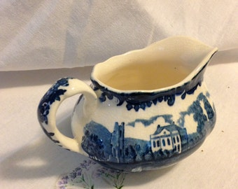 Royal Worcester Ltd. Blue Transfer ware small pitcher