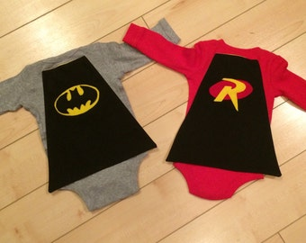 Twins Batman & Robin Onesies with Capes