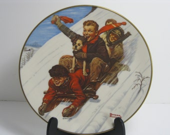 Vintage Norman Rockwell Christmas plate Royal Devon 1st Edition Down Hill Daring