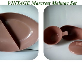 Vintage MarCrest Melmac Set in Mauve Brown mocha kitsch kitchen