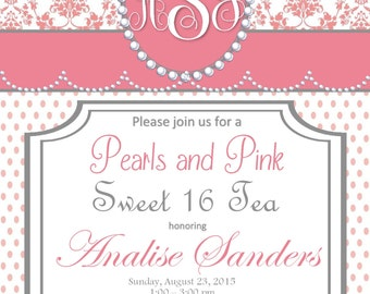 Sweet 16 Pink and Pearls Address Labels
