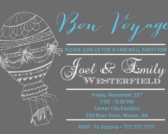 Printable DIY Bon Voyage | Going Away Invitation | Bon Voyage Party | Customizable Party Invitation | Invite
