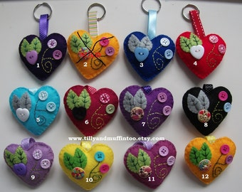 Handmade Felt Heart Keychain,Keyring,Keyfob,Bagcharm. 11 To Choose From. Party Favor, Stocking Stuffer/Filler,Wedding Favor.