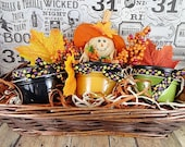 Halloween Gift Basket, Set Of 3 Soy Candles, Halloween Soy Candles, Hand Poured Soy, Autumn Gift Basket, Fall Gift Basket, Crackle Wood Wick