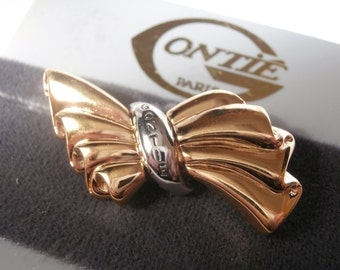 Signed Gontie Paris Signature Bow Pin Brooch 1222 Gold Plated New