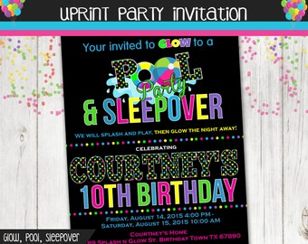 Pool Party, Glow Party, Sleepover Party, Birthday Invitation , Neon Printable