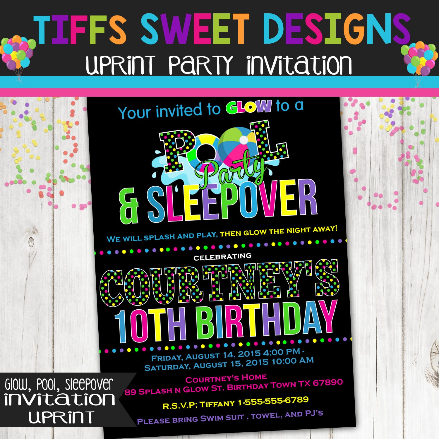 Pool Party Glow Party Sleepover Party Birthday Invitation – Glow Birthday Party Invitations